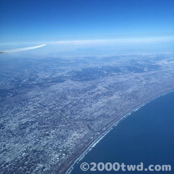 上空から見た関東の雪景色