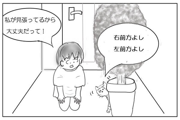 玄関で猫に餌を与える