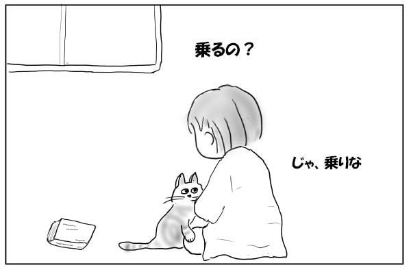 膝にのりがたる猫