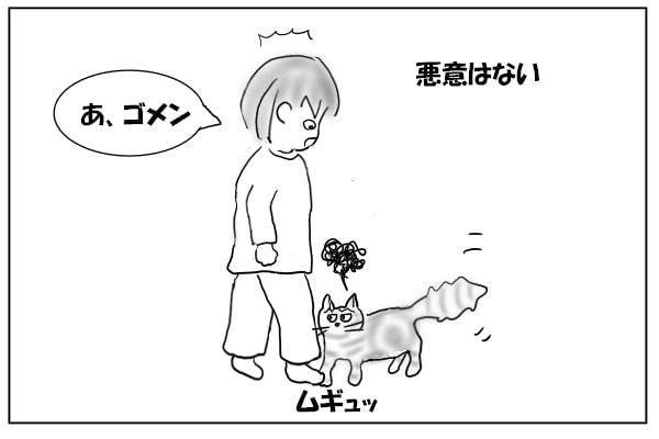 猫の足を踏む