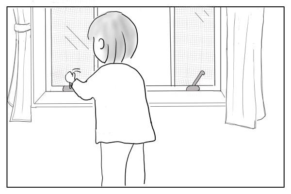 窓をあける女