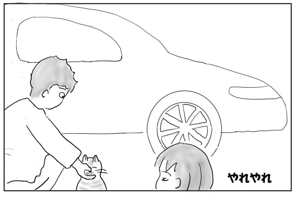 かつおぶしを食べる猫