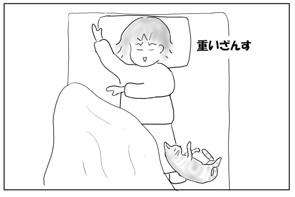 足元で寝る猫1