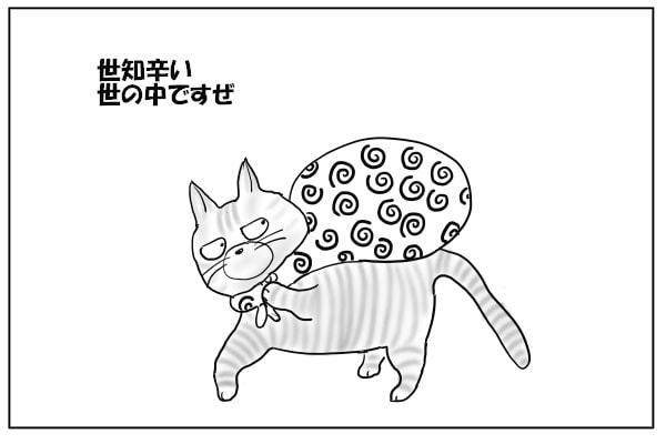 お宝を背負う猫