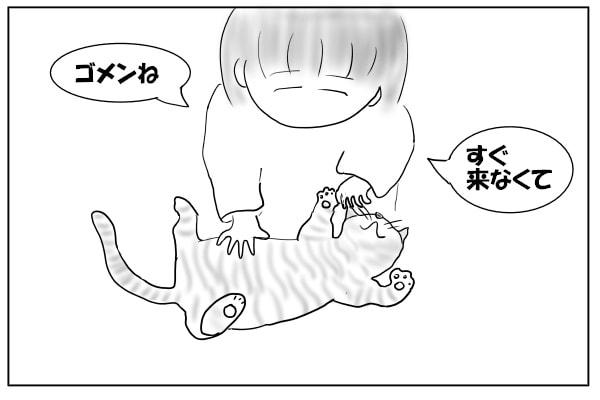 猫をなでなでする女