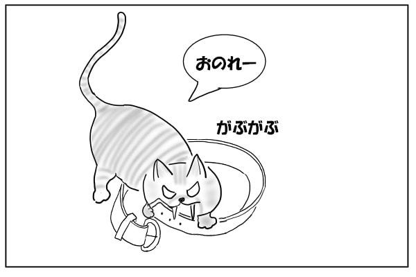 ベルトを噛む猫