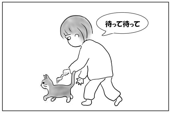 猫を追いかける女