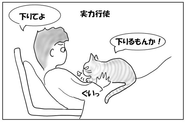 踏ん張る猫