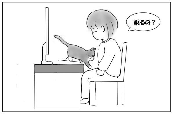 下りようとする猫
