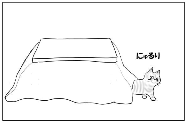 コタツから出る猫