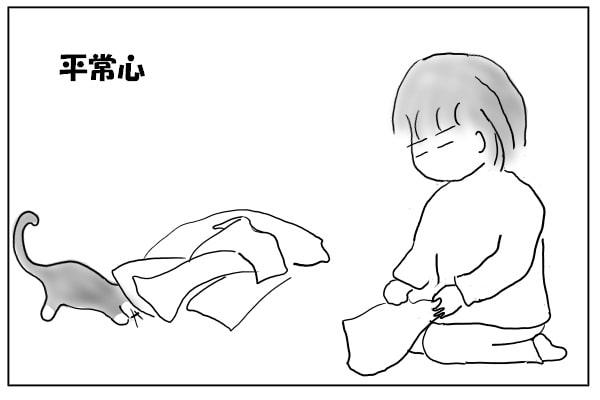 洗濯物にもぐる猫