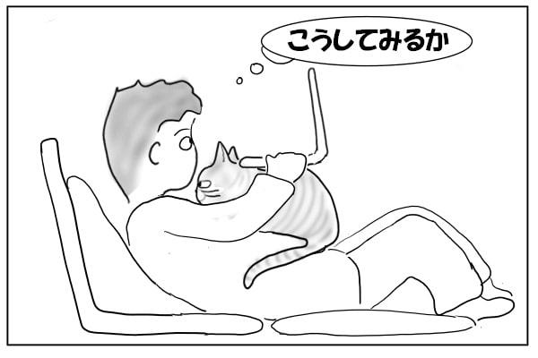 猫の上にパソコン