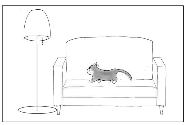 ライトに近づく猫