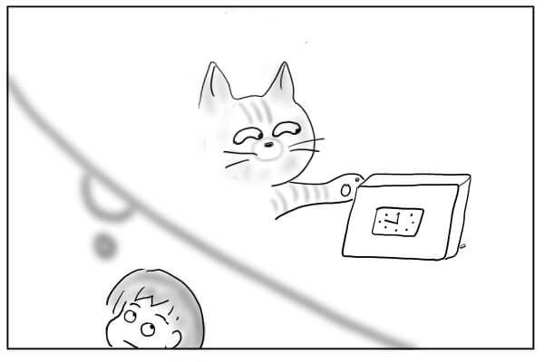 時計を倒す猫