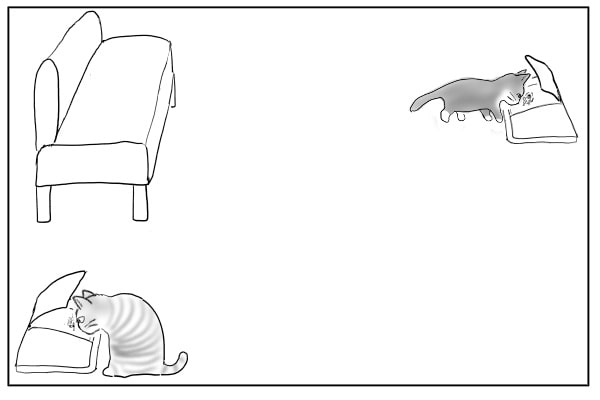 食べ始めるもう一匹の猫