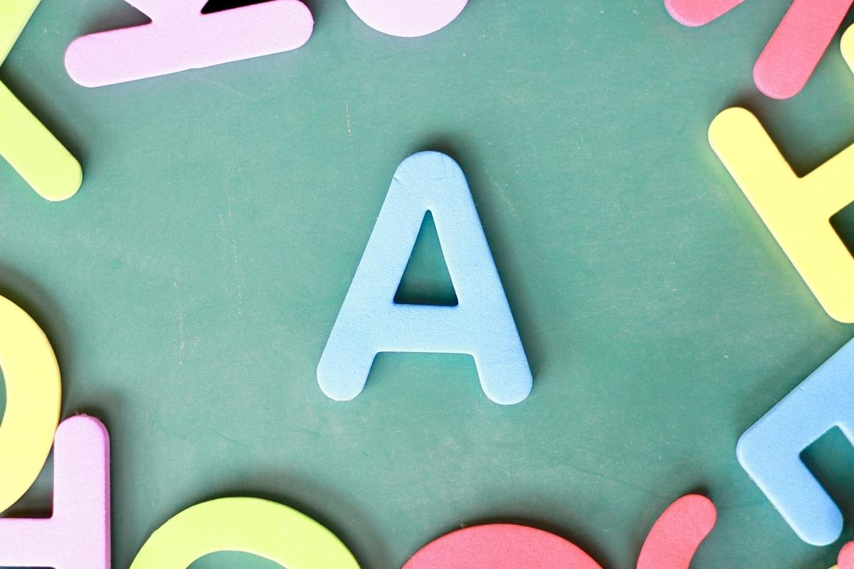 緑の背景にAの文字