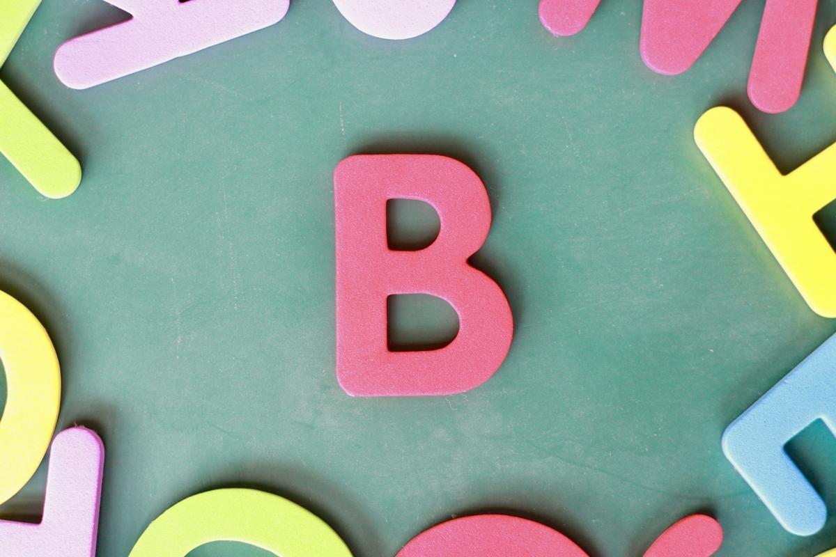 緑の背景にBの文字