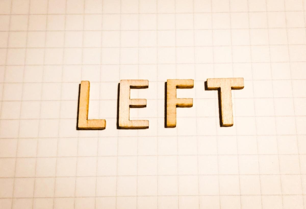 LEFTの文字