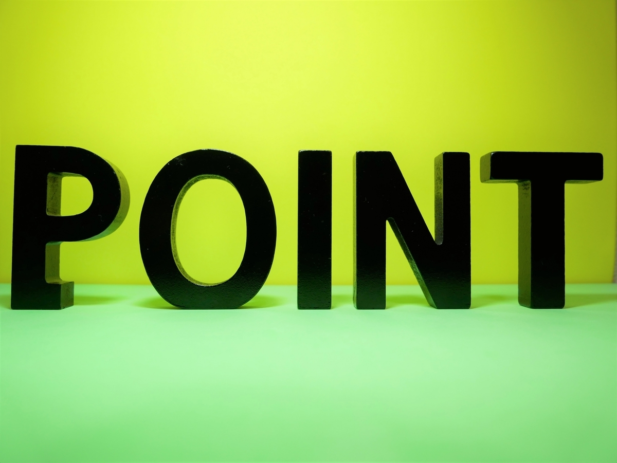緑の背景にPOINTの文字