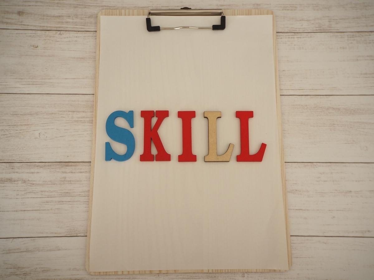 SKILLのカラフルな文字