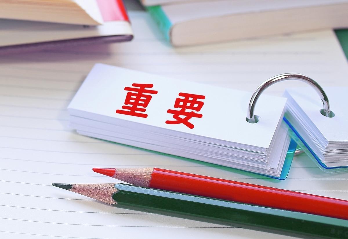 単語帳に重要に文字