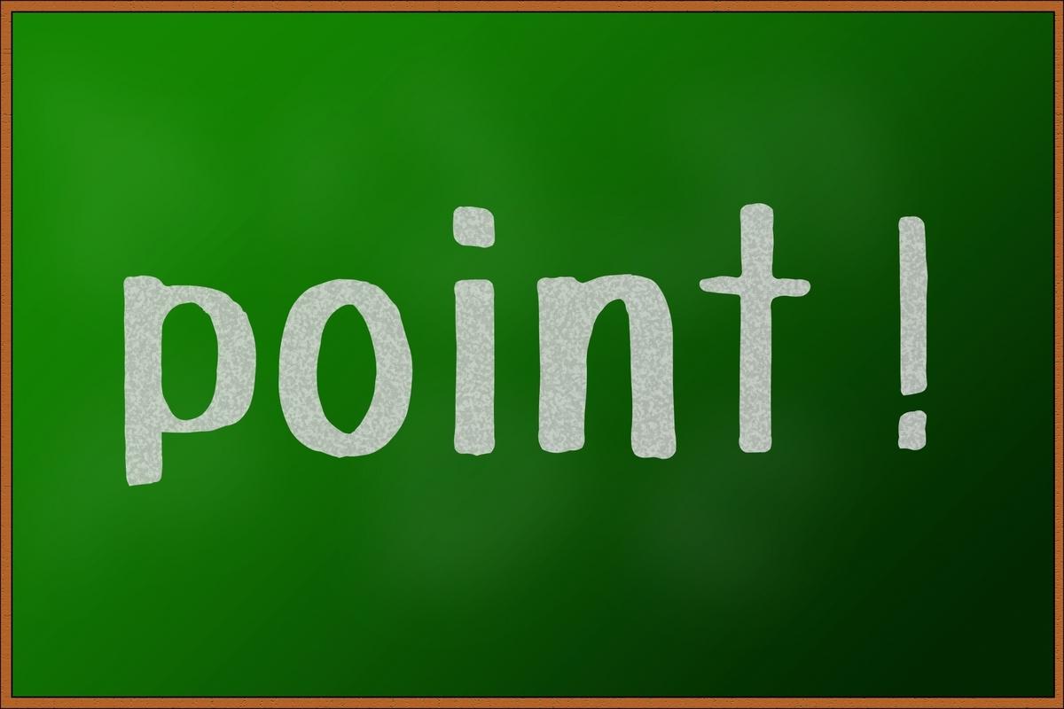 黒板にpoint!の文字