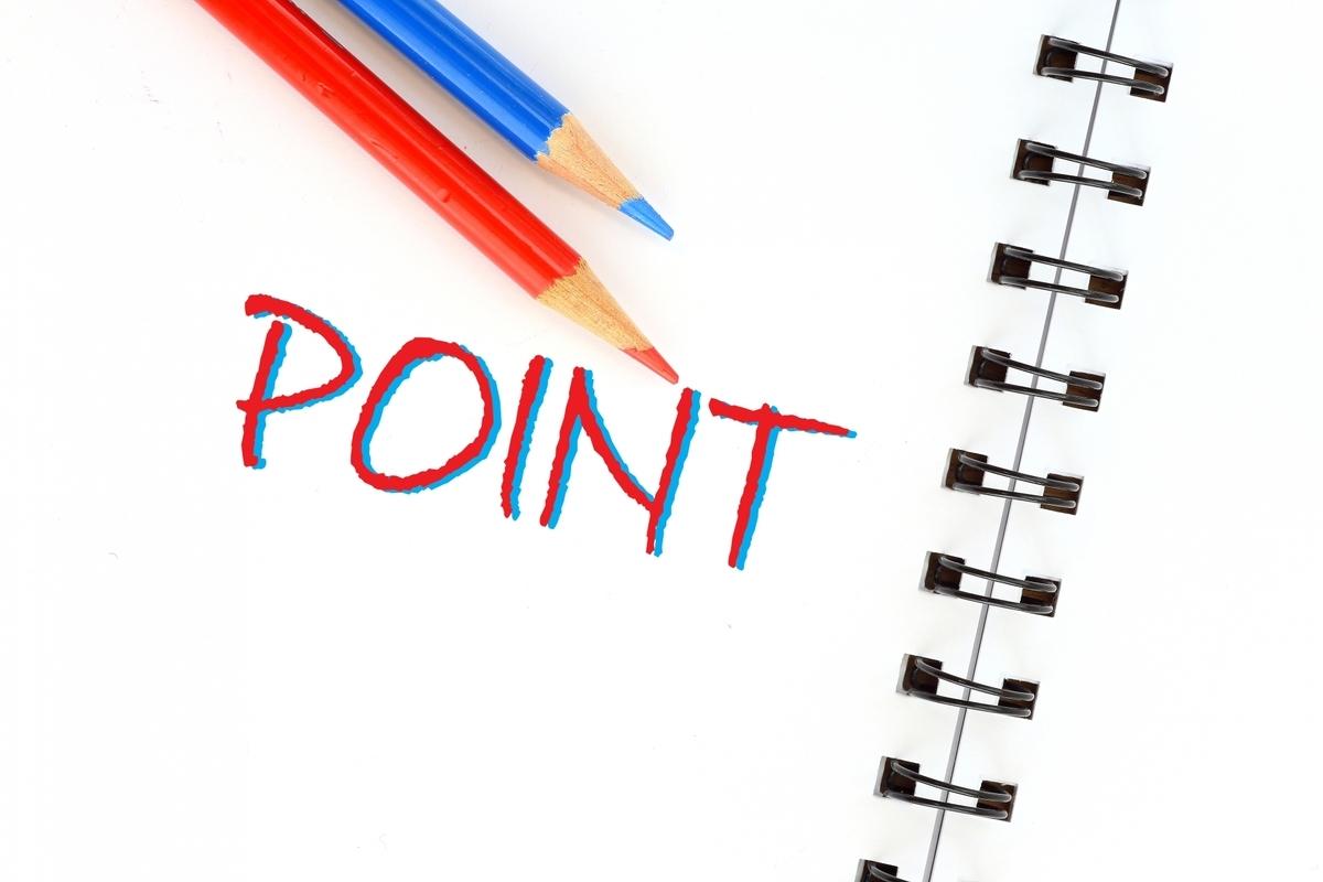 赤鉛筆と青鉛筆のPOINTの文字