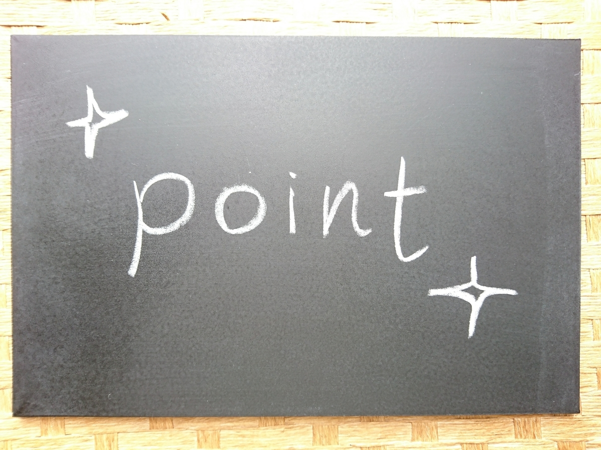 黒板にpointの文字
