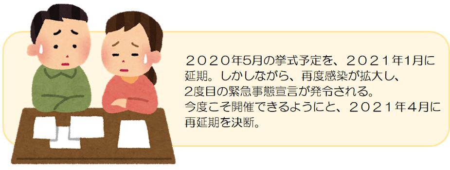 2020年5月の挙式予定を、2021年1月に 延期。しかしながら、再度感染が拡大し、 2度目の緊急事態宣言が発令される。 今度こそ開催できるようにと、2021年4月に 再延期を決断。