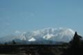 [春の雪をまとった大山]仁王堂公園烏天狗と大山