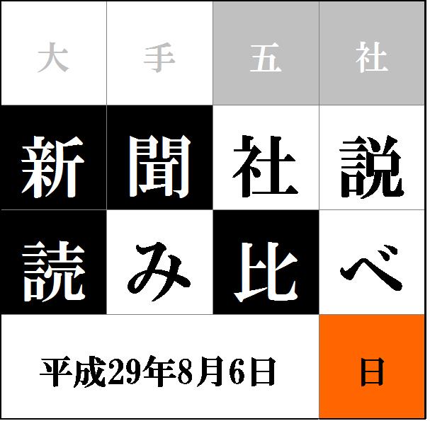 """""""社説読み比べタイトル8/6"""