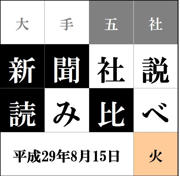 """""""社説読み比べタイトル8.15"""