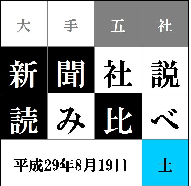 """""""社説読み比べタイトル8.19"""