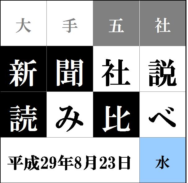 """""""社説読み比べタイトル8.23"""