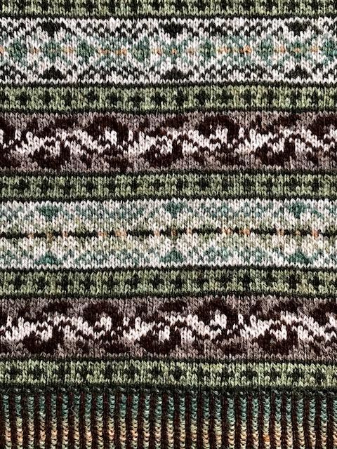 フェアアイル柄のショール 編み地