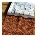 2色の編み込みショールの試し編み