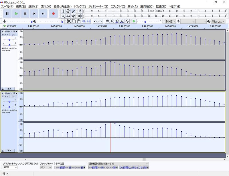 図6 、入/出力(webm)ファイル波形比較(サンプル No. 06)