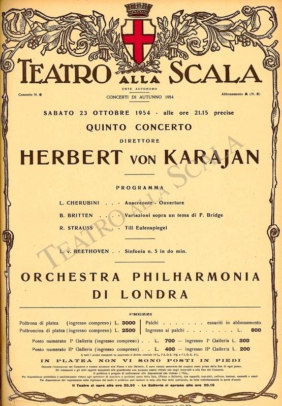 Playbill CONCERTO HERBERT VON KARAJAN - Archivio La Scala