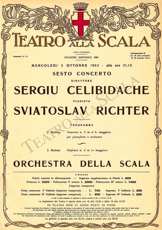 Playbill CONCERTO SERGIU CELIBIDACHE/BRAHMS - Archivio La Scala
