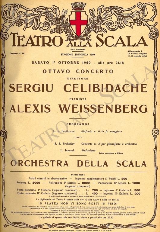 Playbill CONCERTO SERGIU CELIBIDACHE - Archivio La Scala