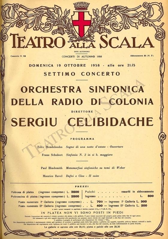 Playbill CONCERTO ORCH. SINFONICA RADIO DI COLONIA - Archivio La Scala