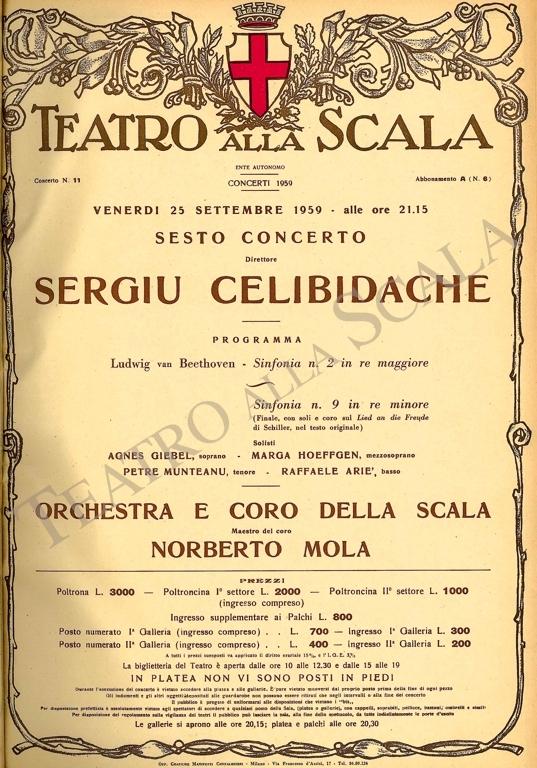 Playbill CONCERTO SERGIU CELIBIDACHE/BEETHOVEN - Archivio La Scala