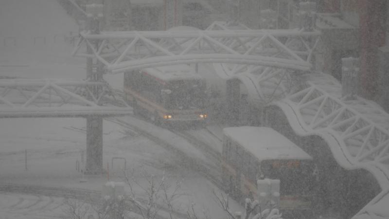 雪が降るバス乗り場