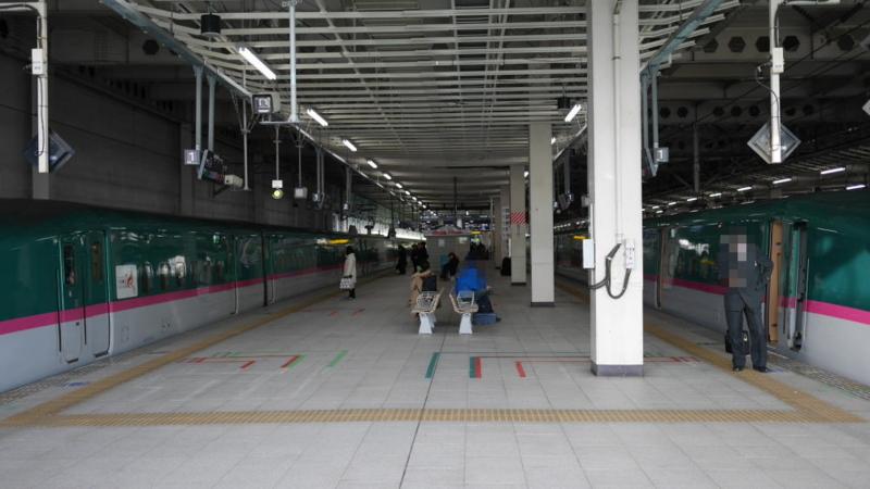 ホームで撮影した停車中の新幹線