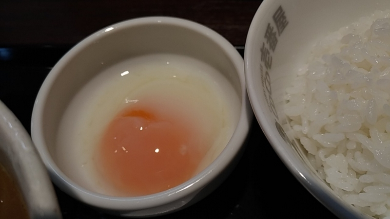 カレーうどんセットの半熟卵