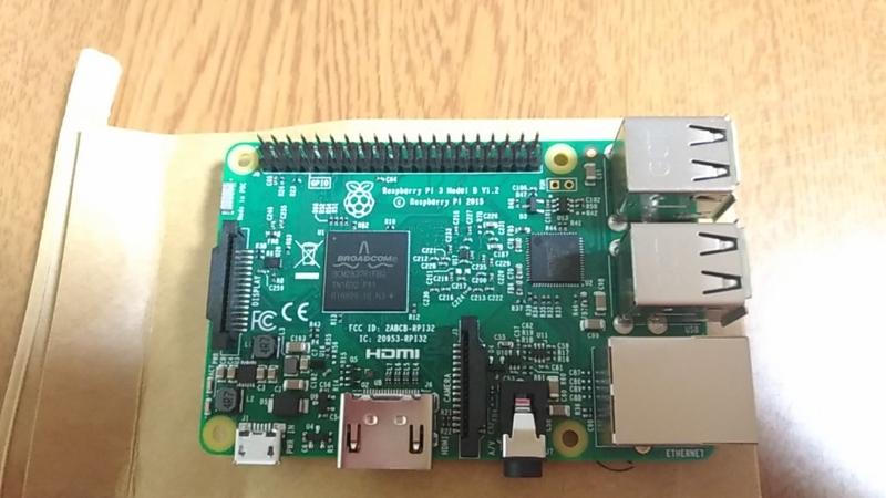 袋の上に置いたRaspberry_Pi3