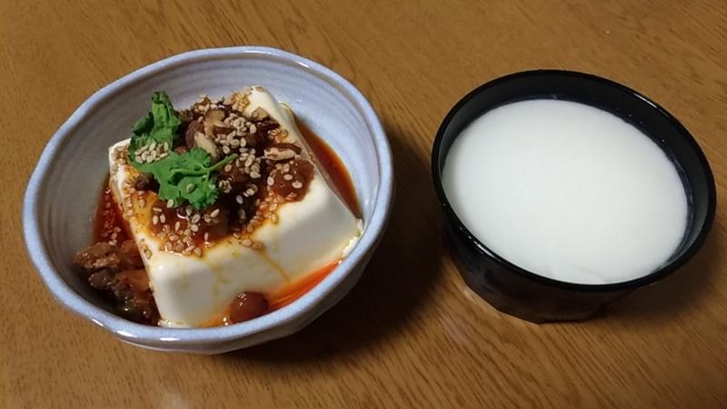 更に分けた麻婆豆腐と杏仁豆腐