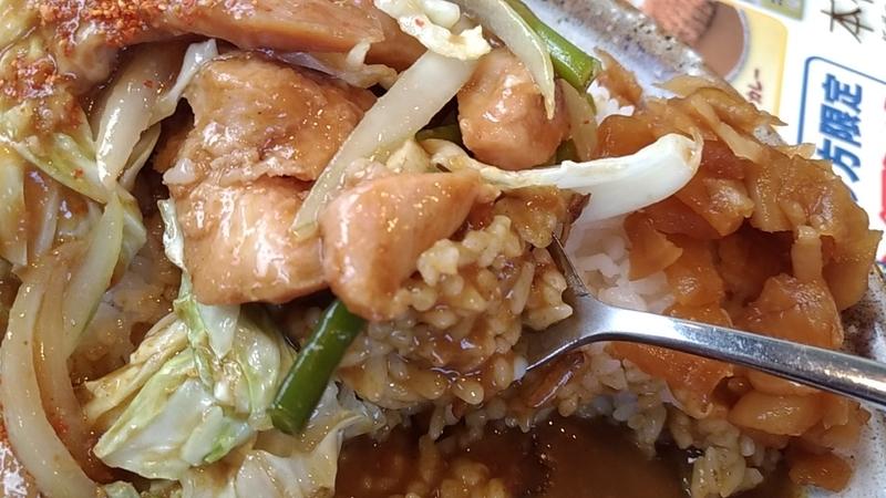スプーンで食べる鶏ちゃんカレー