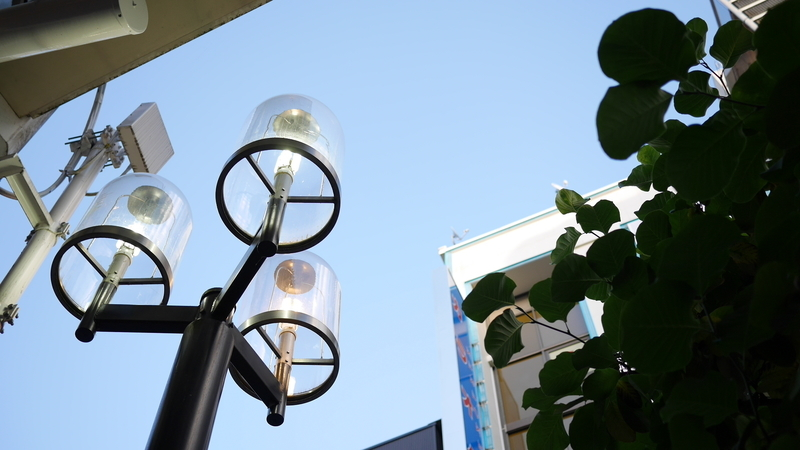 早めに点いた街灯