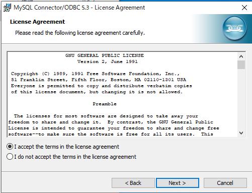 ODBCドライバインストール画面